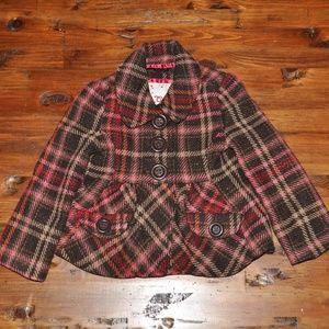 GAP Kids Metallic Plaid Wool Blend Tweed Jacket